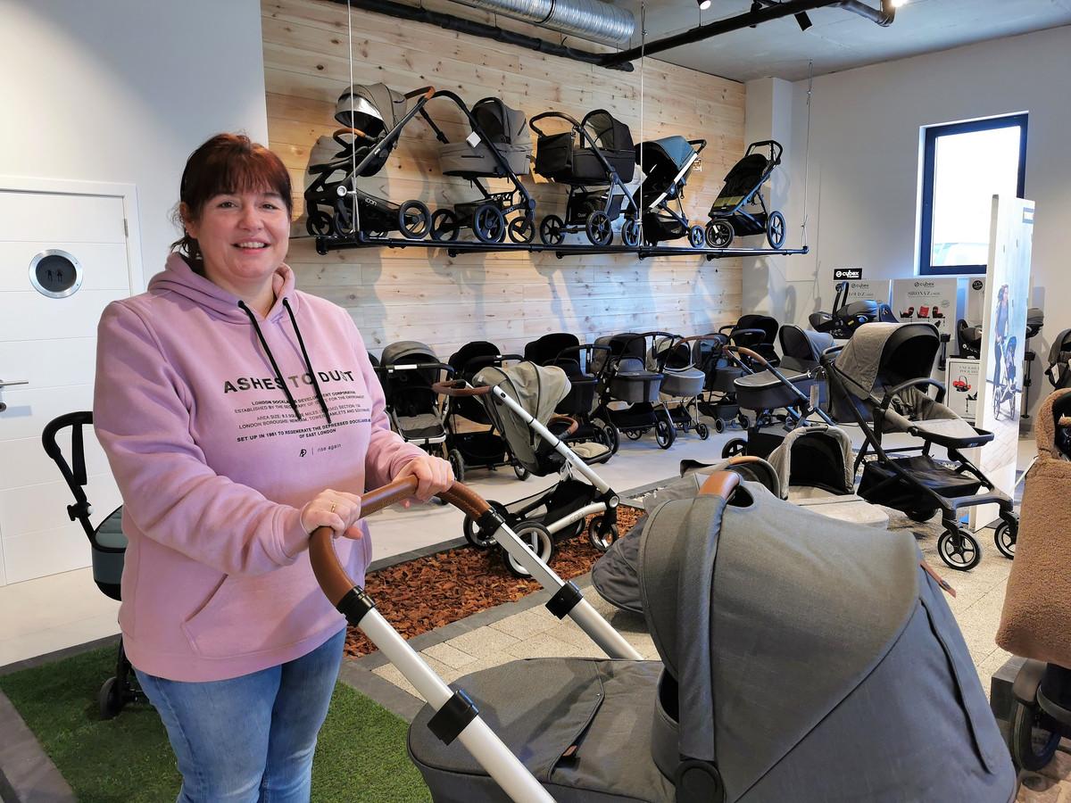 Christine Verhulst enkele maanden geleden in de nieuwe winkel in Nijvel