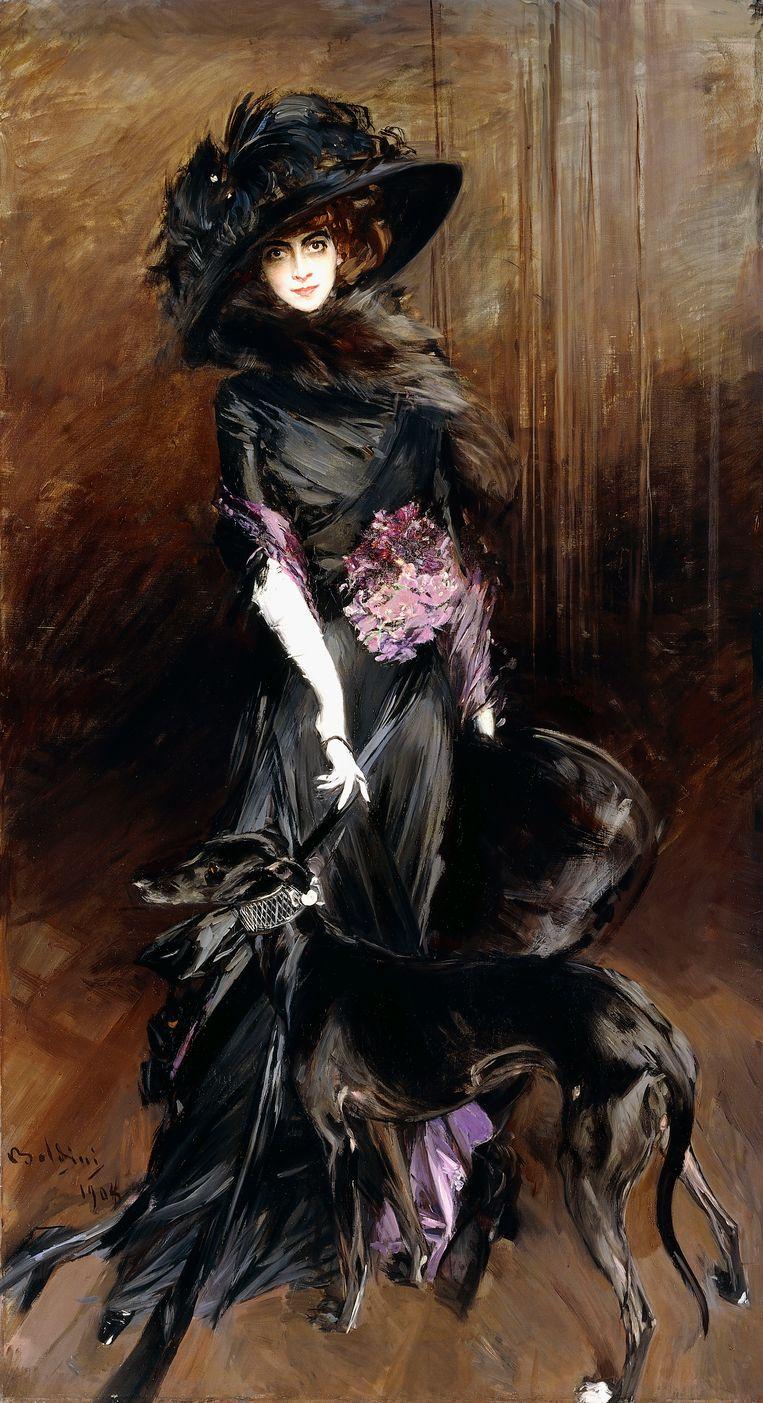 Giovanni Boldini: 'Markiezin Luisa Casati en haar windhond' (1908). Beeld www.bridgemanart.com