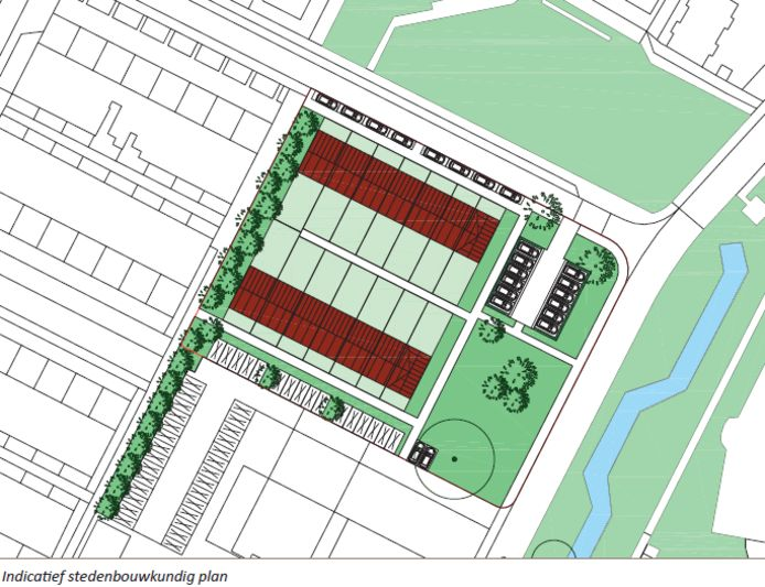 Voorlopige plattegrond van de veertien huurwoningen die in Lage Zwaluwe worden gebouwd.