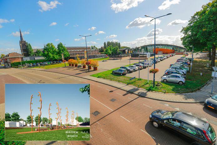Het stationsplein in Best op archiefbeeld. Het kunstwerk 'Groen Goud' van Juul Rameau (inzet) komt midden op het plein.