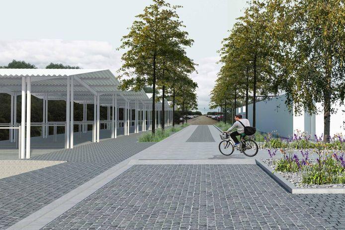 Een beeld van hoe de vernieuwde stationsomgeving er zal gaan uitzien. Links de nieuwe multifunctionele luifel met fietsenstalling.