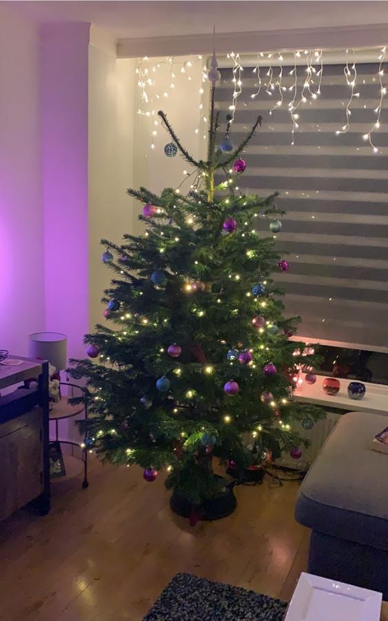"""De verlichte boom van Mark Hendriks heeft een mooie plek in de woonkamer. ,,Onze kerstboom staat al sinds 25 november. Kerst verbindt en brengt geluk"""", zegt Mark Hendriks."""