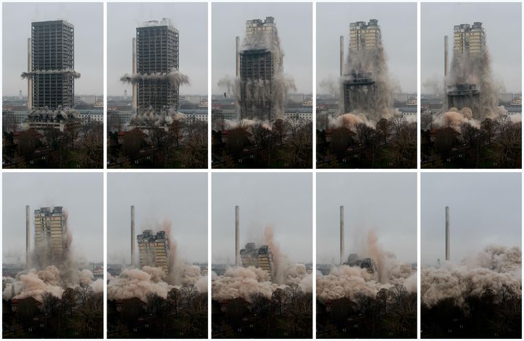 A combination of pictures shows the Goethe University AfE tower as it collapses during controlled implosions in Frankfurt, February 2, 2014. The 116 metres high AfE tower, part of the Goethe University, was demolished on Sunday by controlled implosions. REUTERS/Ralph Orlowski (GERMANY - Tags: SOCIETY TPX IMAGES OF THE DAY) Beeld REUTERS