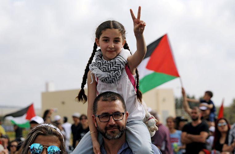 Israëlische Arabieren nemen deel aan een rally van Israëlische Arabieren voor het recht van terugkeer voor de vluchtelingen die hun huizen moesten ontvluchten tijdens de Arabisch-Israëlische oorlog in 1948. Beeld REUTERS