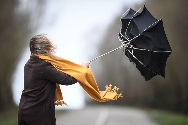 Het stormweer levert ook mooie beelden op, zoals van deze vrouw die worstelt met haar paraplu. Beeld BELGA