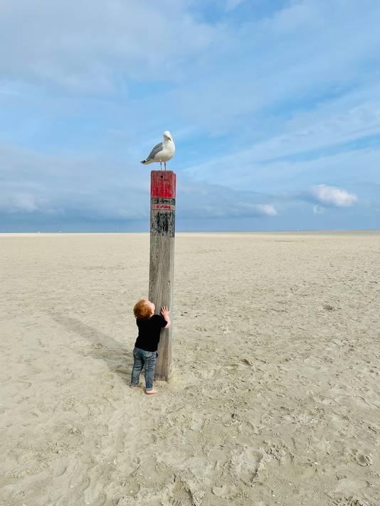 De winnende zomerfoto van Daniëlla Meeuwis met haar zoontje Levi op het strand van Texel.