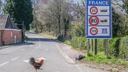 Haan controleert de grensovergang op de Zwarteberg in Westouter