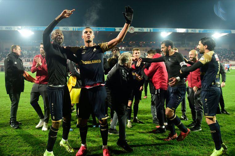 Vreugde bij Antwerp na de zege tegen KV Kortrijk in de halve finale. Beeld Photo News