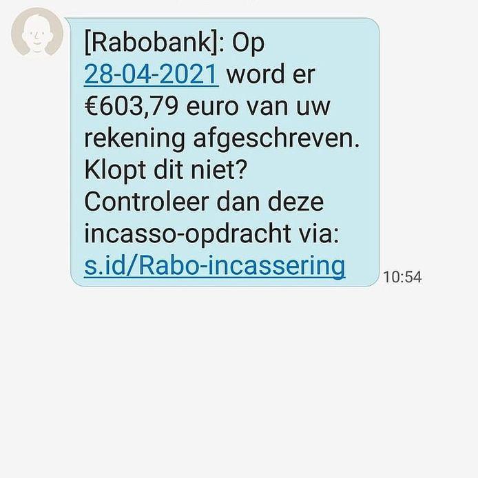 Phishing sms naar de telefoon van de politie Achterhoek Oost.