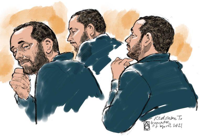 Rechtbanktekening van Ridouan Taghi in de 'Bunker' tijdens een zitting in het proces Marengo.  Beeld ANP
