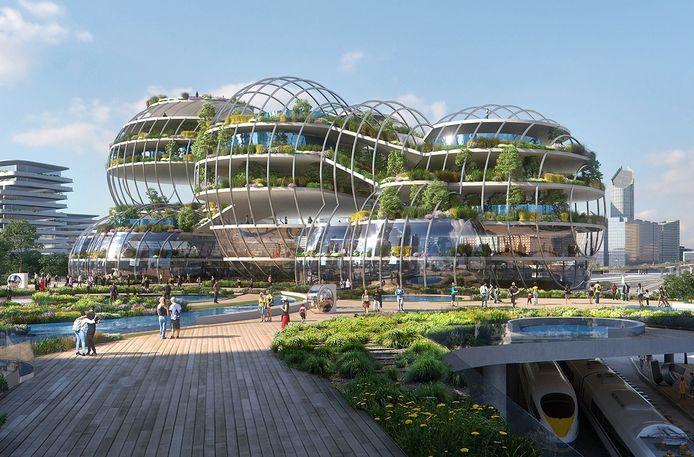 Artist impressions van de stad van de toekomst. Futuristisch ontwerp van Den Haag.