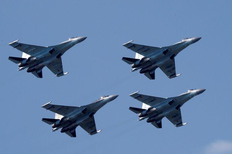 Het Russische gevechtsvliegtuig Su-35. Beeld REUTERS