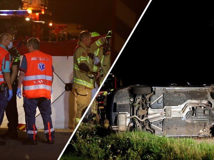 Auto ligt op de kant, bestuurder overlijdt bij ongeval in Lunteren