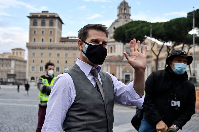 Tom Cruise tijdens opnames in Rome.