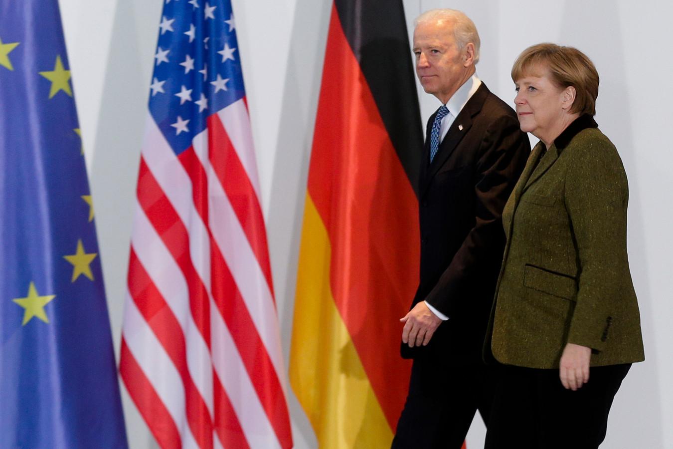 Duitse bondskanselier Angela Merkel en Amerikaanse president Joe Biden in de rijkskanselarij, in Berlijn.