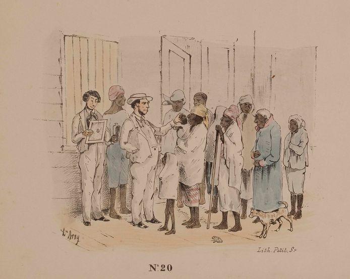 'Bezoek van den directeur in het slaven hospitaal' in 1850 in Suriname. Tekening van Théodore Bray,  een Belgische plantage-eigenaar in Suriname.