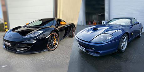 De zwarte McLaren en donkerblauwe Ferrari.