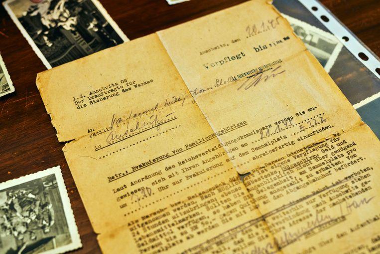 Brief waarin staat dat Willy en Yvonne IG Auschwitz moeten evacueren.  Beeld Thomas Nolf