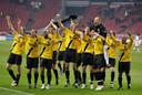 NAC viert feest na de overwinning bij Ajax in 2007. Het is de opmaat voor een historisch goede periode.