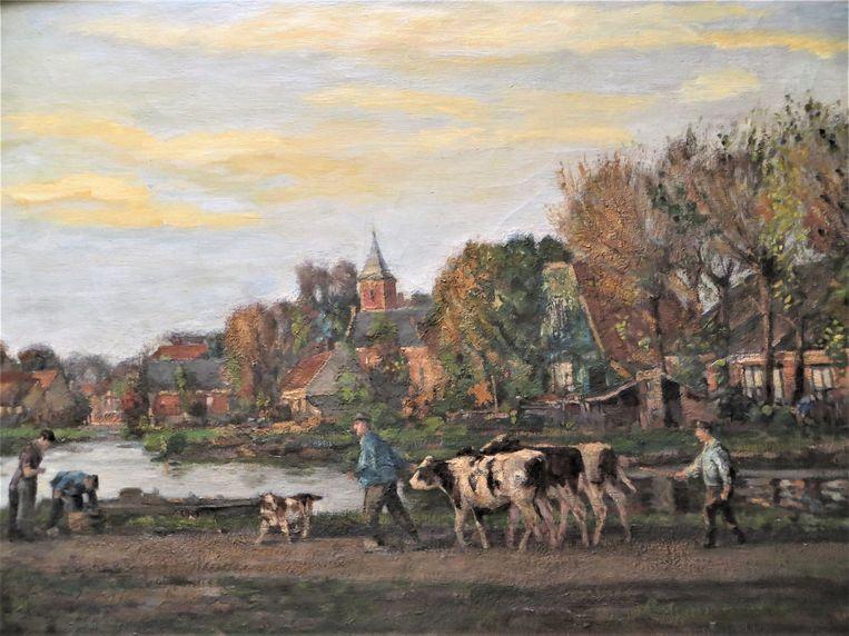 Schilderij van D.J. van Haaren. Blik op het dorp Sloterdijk (1920). Beeld D.J. van Haaren
