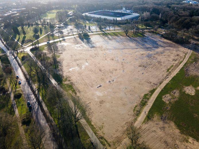 Omgeploegd Goffertpark per Drone. Nijmegen, 13-1-2021 .
