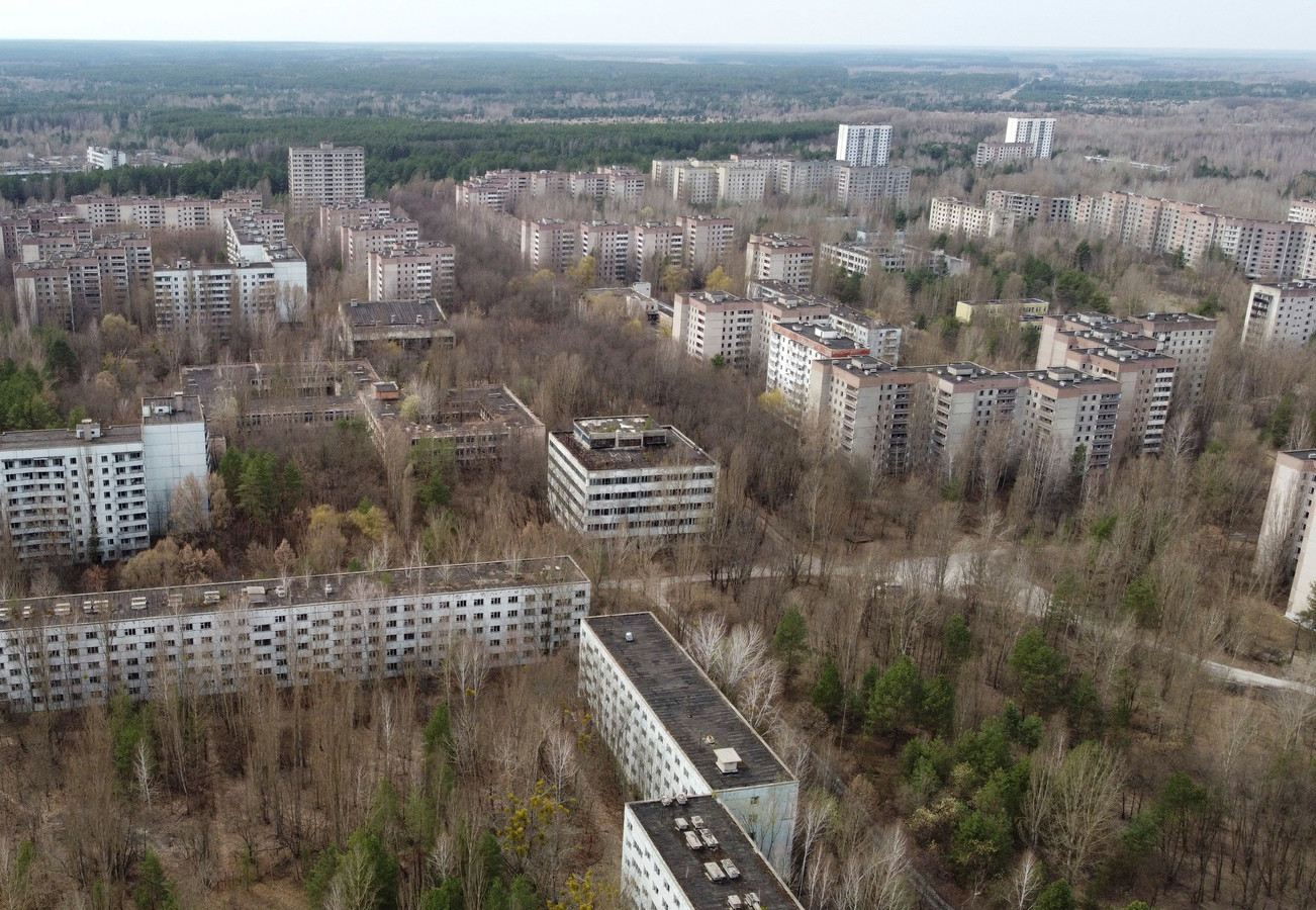 Luchtfoto van Pripjat.