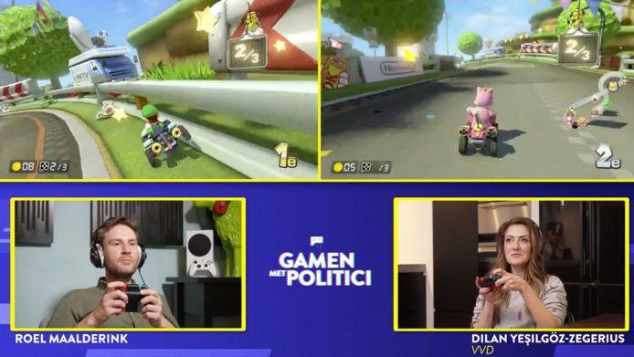 Gamen met politici Mario Kart