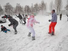 Geen 'mega' maar wel sneeuwballengevecht in Kampen, en in Dronten plezier op de slee achter een auto