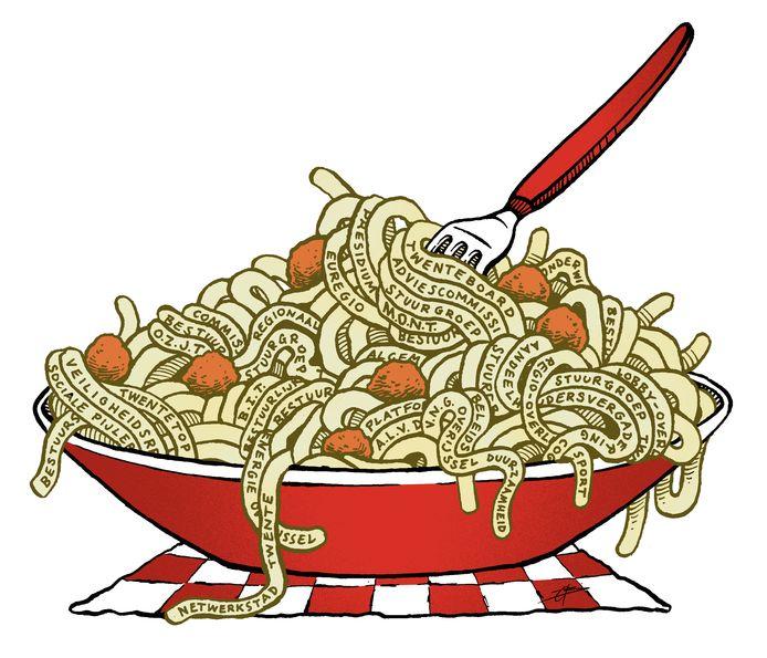 De bestuurlijke spaghetti, die de bestuurders willen oplossen met de reorganisatie.