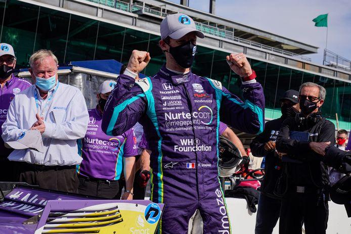 Blijdschap bij Romain Grosjean na het behalen van poleposition.