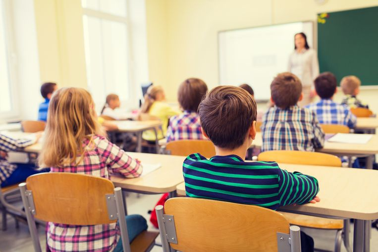 education, elementary school, learning and people concept - group of school kids sitting and listening to teacher in classroom from back Beeld Thinkstock