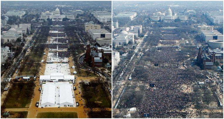 Persagentschap Reuters verspreidde deze beelden van de inauguratie van Trump (2017) en die van Obama (2009). Beeld reuters