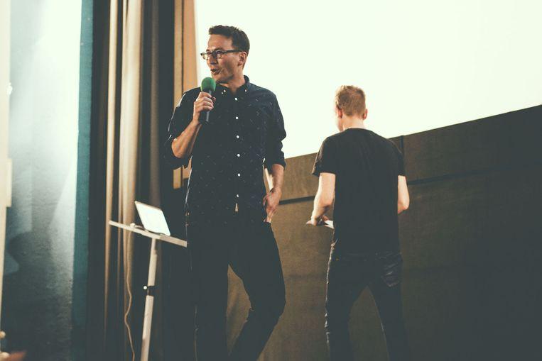 Eeman tijdens een 'VRT Startup'-presentatie Beeld Tina Herbots