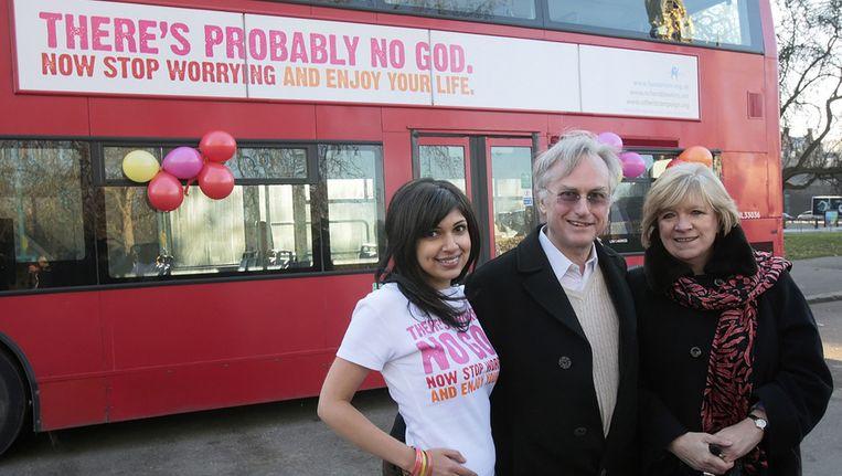 De Engelse schrijver en journalist Ariane Sherine bedacht in 2009 de Atheïst Bus Campaign in Engeland. Beeld afp