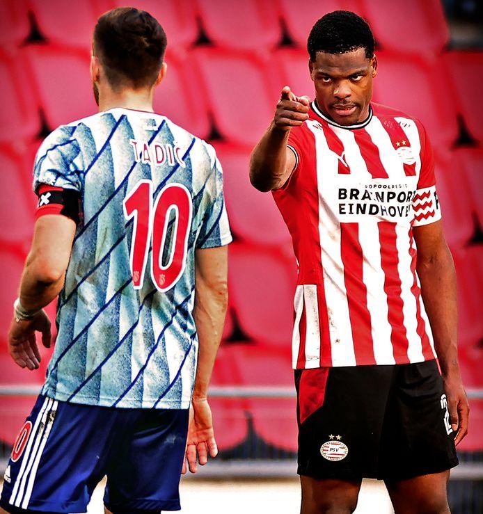 Denzel Dumfries en Dusan Tadic kregen het afgelopen zondag hevig met elkaar aan de stok tijdens PSV - Ajax (1-1)