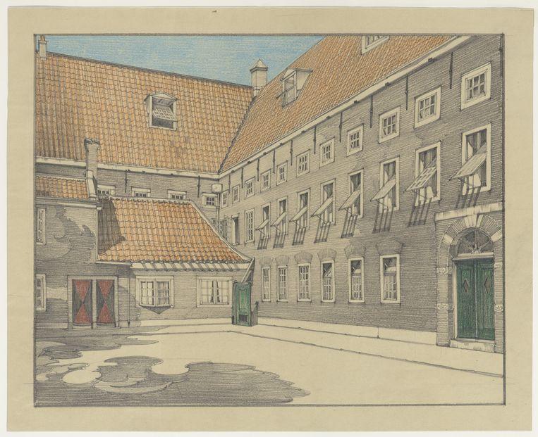 Het binnenplein van het Buitengasthuis (voormalig Pesthuis) nabij de Overtoom. Beeld Tekening door P.L. Marnette, stadsarchief