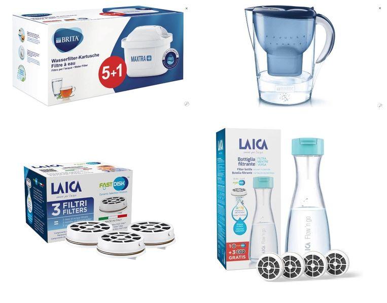 Met de klok mee: Brita vervangfilters, Brita Fill&Enjoy Marella XL Blue, Laica Waterfilterfles Flow'n Go, vervangfilters Laica Beeld rv