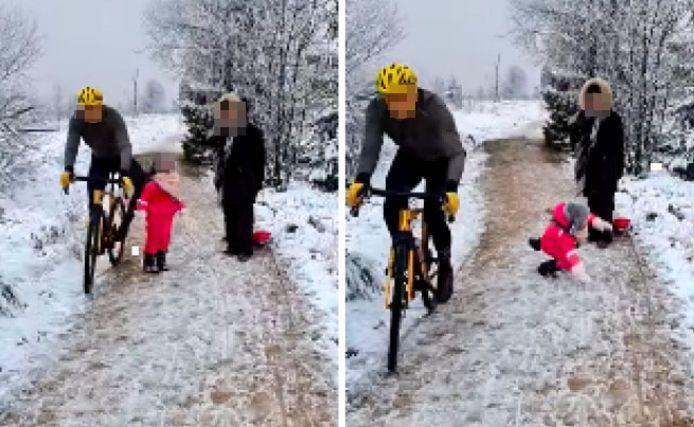 Op het ogenblik van de feiten droeg de man een grijze jas, een zwarte wielerbroek, een bril met oranje glazen, gele handschoenen en een gele wielerhelm.