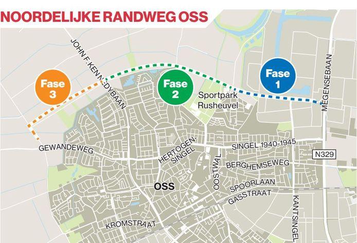 De noordelijke randweg zou in drie fases van oost naar west moeten worden aangelegd.