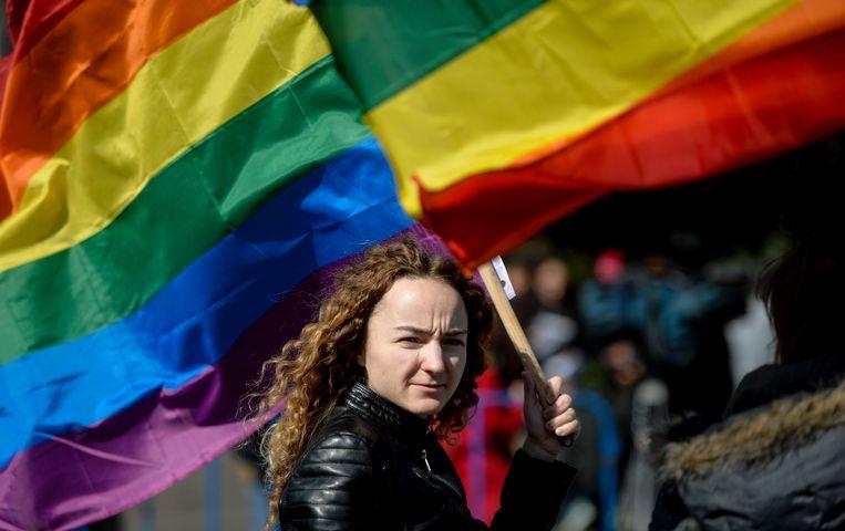 Protest tegen de voorgestelde grondswetwijziging in Roemenië over het homohuwelijk, 30 september 2018 in Boekarest. Beeld AP