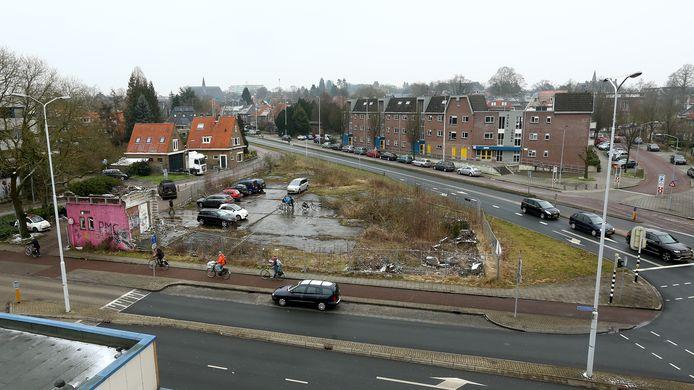 Het braakliggende terrein van Kirpestein in het centrum van Wageningen.