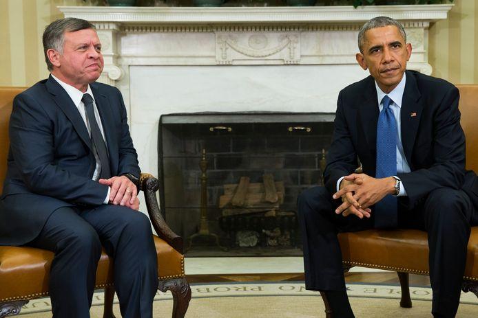 Obama ontmoet de Jordaanse koning Abdullah.