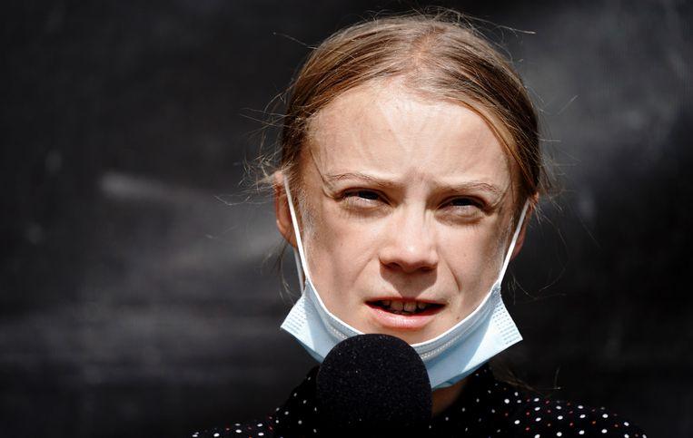 De Zweedse klimaatactivist Greta Thunberg. Beeld Kay Nietfeld/dpa