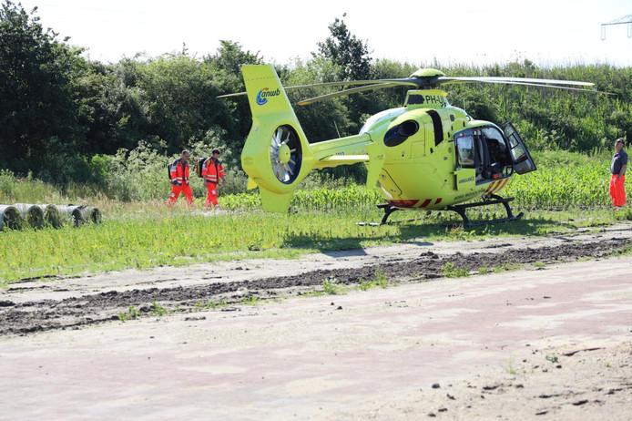 De traumahelikopter die ter plaatse kwam om hulp te verlenen.