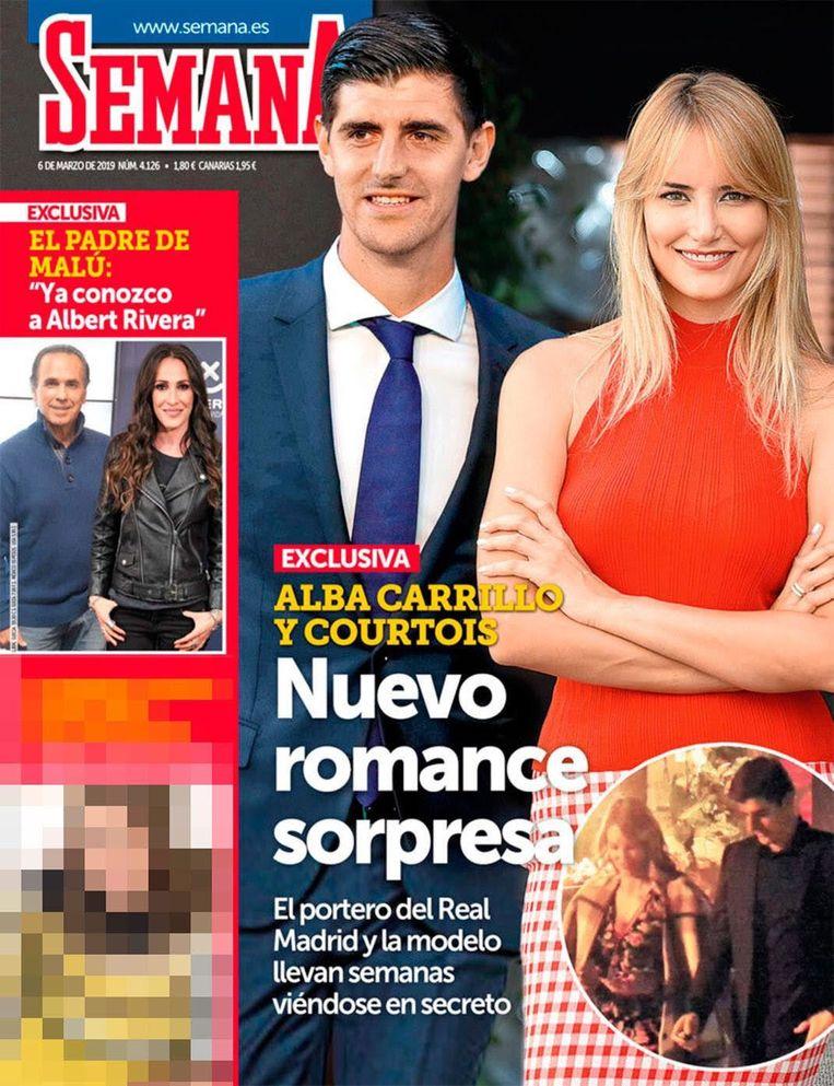 Thibaut Courtois en Alba Carrillo op de cover van Semana. Beeld RV