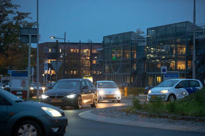 Drukte op de rotonde Mansholtlaan en Droevedaalsesteeg bij de Wageningse universiteit tijdens de avondspits.