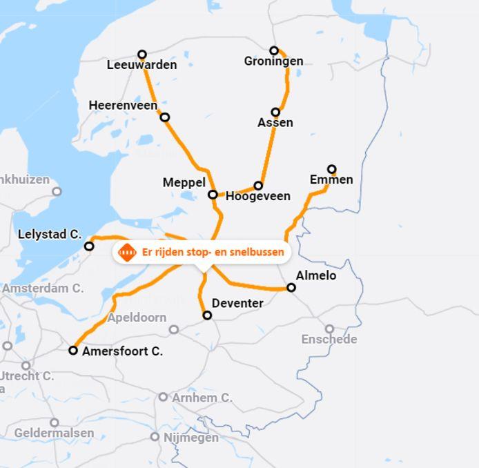 De situatie rond station Zwolle volgens de NS tot en met dinsdag 02.00 uur. Als de treinreizigers pech hebben, komt daar nog een actieweekeinde van spoorwegpersoneel overheen.