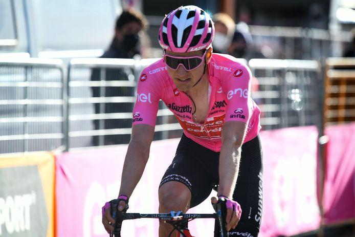 Wilco Kelderman in het roze tijdens de Giro, nog in dienst van Team Sunweb.