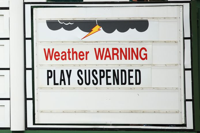 De wedstrijd in Augustus werd stilgeleged vanwege een weerwaarschuwing.