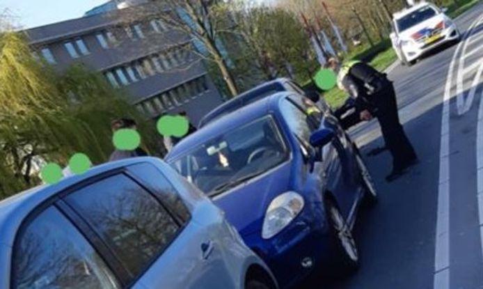 Kettingbotsing op de Ringbaan West in Goes. Fotobewerking door politieteam Oosterscheldebekken.